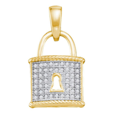 10kt Yellow Gold Womens Round Diamond Key Lock Dangle Pendant 1/8 Cttw