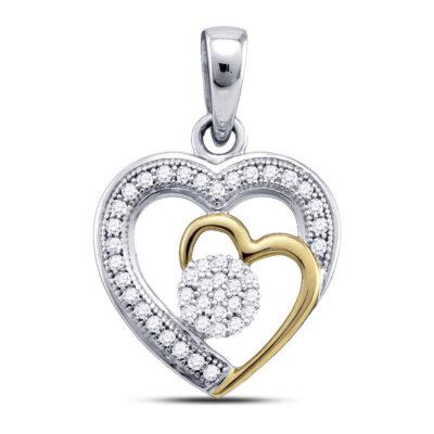 10kt Two-tone Gold Womens Round Diamond Heart Pendant 1/6 Cttw