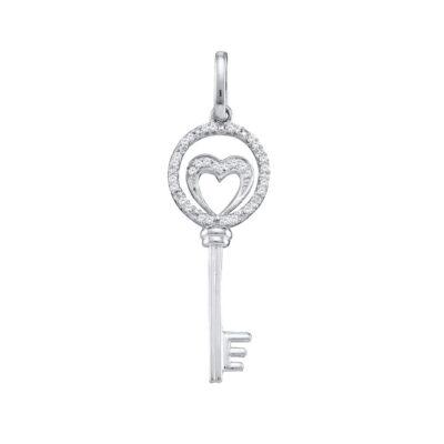 10k White Gold Round Diamond Womens Heart Key Anniversary Pendant 1/10 Cttw