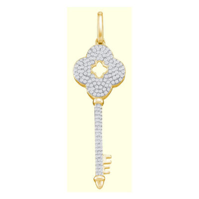 10kt Yellow Gold Womens Round Diamond Quatrefoil Key Pendant 1/2 Cttw