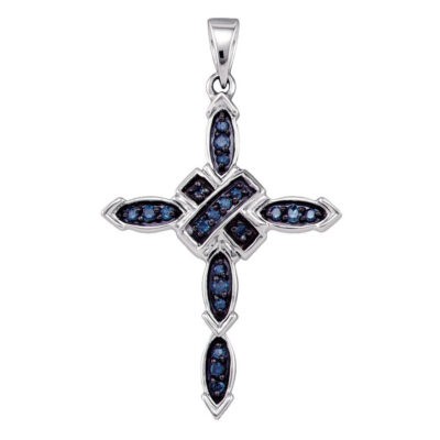 10k White Gold Blue Color Enhanced Diamond Womens Religious Cross Pendant 1/5 Cttw