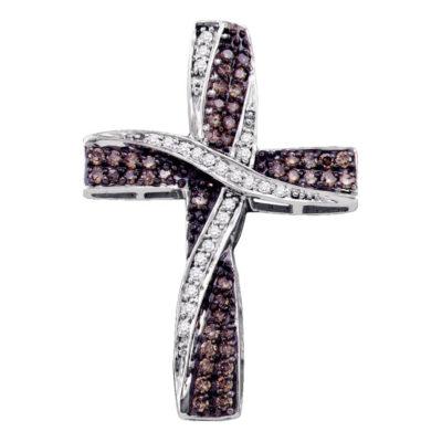 10kt White Gold Womens Round Brown Diamond Cross Pendant 1/2 Cttw