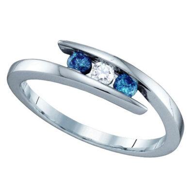 10kt White Gold Round Blue Color Enhanced Diamond 3-stone Ring 1/4 Cttw
