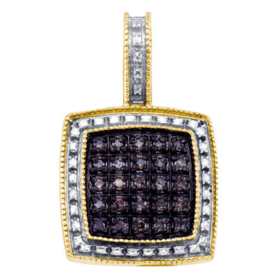 Yellow-tone Sterling Silver Womens Round Brown Diamond Square Cluster Pendant 1/5 Cttw