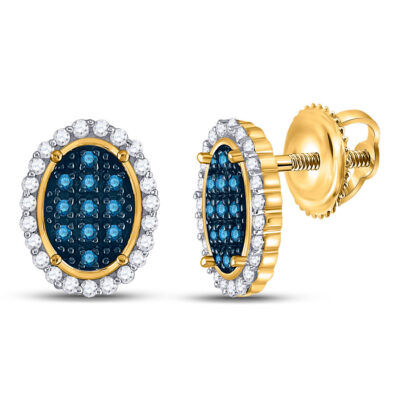10kt Yellow Gold Womens Round Blue Color Enhanced Diamond Oval Earrings 1/3 Cttw