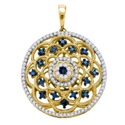 10kt Yellow Gold Womens Round Blue Color Enhanced Diamond Circle Pendant 1/2 Cttw