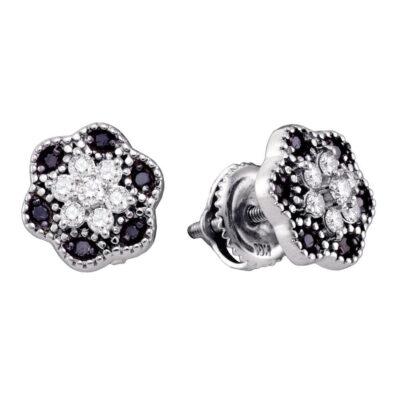 10k White Gold Black Color Enhanced Diamond Womens Flower Cluster Stud Earrings 1/3 Cttw