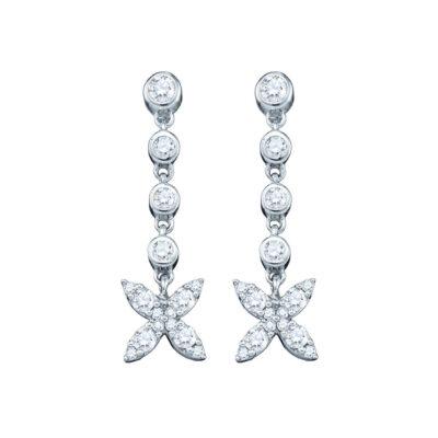 10kt White Gold Womens Round Diamond Flower Cluster Dangle Earrings 3/4 Cttw