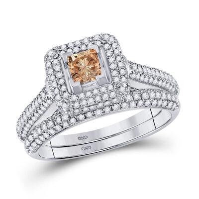 14kt White Gold Womens Princess Diamond Bridal Wedding Ring Band Set 1-1/4 Cttw