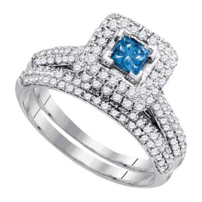 14kt White Gold Princess Blue Color Enhanced Diamond Bridal Wedding Ring Set 1-1/4 Cttw