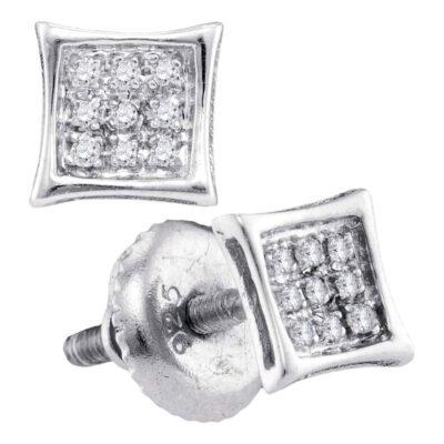10kt White Gold Mens Round Diamond Kite Cluster Earrings 1/20 Cttw