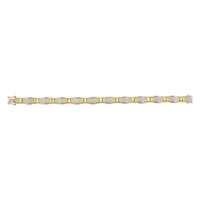 10kt Yellow Gold Mens Round Diamond Link Bracelet 1-1/2 Cttw