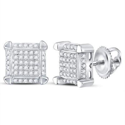 10kt White Gold Mens Round Diamond Square Cluster Stud Earrings 1/6 Cttw