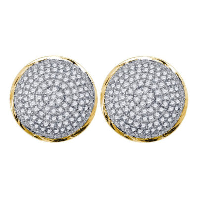 10kt Yellow Gold Mens Round Diamond Circle Cluster Earrings 1/2 Cttw