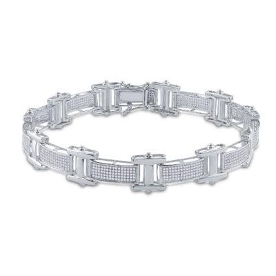 10kt White Gold Mens Round Diamond Link Bracelet 1-1/2 Cttw