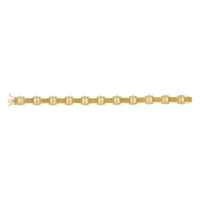 10kt Yellow Gold Mens Round Yellow Color Enhanced Diamond Link Bracelet 1-3/8 Cttw