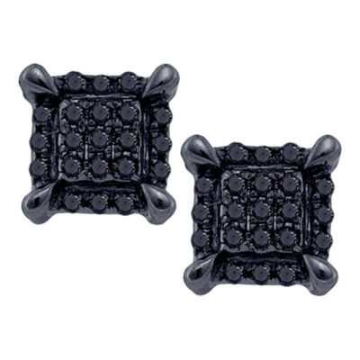 10kt White Gold Mens Round Black Color Enhanced Diamond Square Earrings 1/20 Cttw