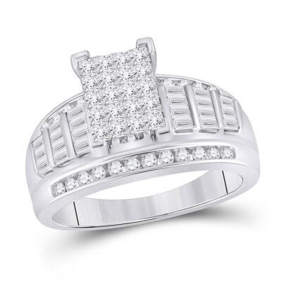 10kt White Gold Princess Diamond Cluster Bridal Wedding Engagement Ring 1 Cttw - Size 6