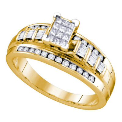 Yellow-tone Sterling Silver Princess Diamond Cluster Bridal Wedding Engagement Ring 1/2 Cttw