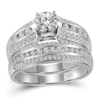 14kt White Gold Round Diamond Bridal Wedding Ring Band Set 1-1/4 Cttw