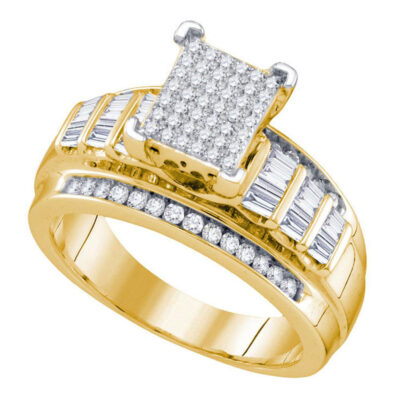 Yellow-tone Sterling Silver Round Diamond Cluster Bridal Wedding Engagement Ring 5/8 Cttw