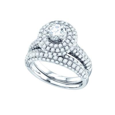 14kt White Gold Round Diamond Bridal Wedding Ring Band Set 2-1/5 Cttw