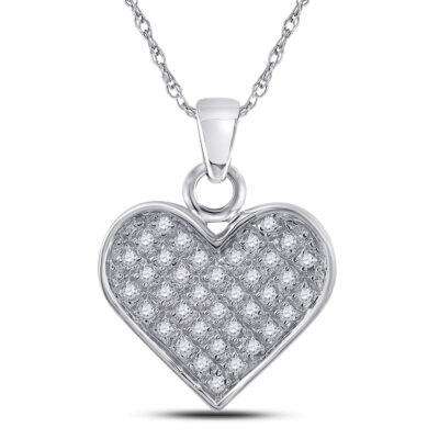 Sterling Silver Womens Round Diamond Heart Pendant 1/10 Cttw
