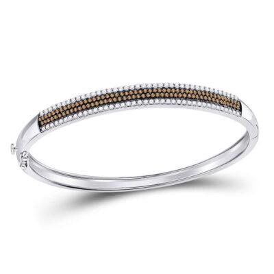 14kt White Gold Womens Round Brown Diamond Bangle Bracelet 1-3/8 Cttw