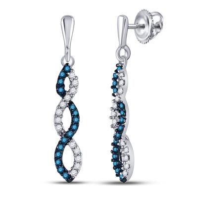 10kt White Gold Womens Round Blue Color Enhanced Diamond Dangle Earrings 1/6 Cttw
