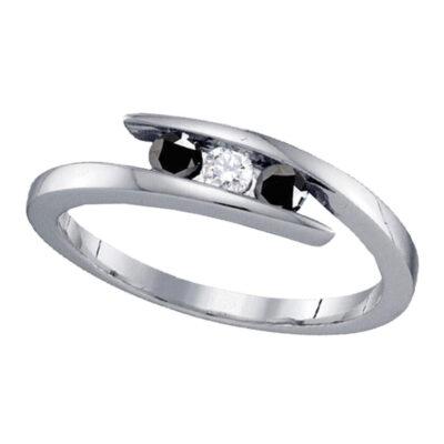 Sterling Silver Round Black Color Enhanced Diamond 3-stone Bridal Wedding Ring 1/4 Cttw