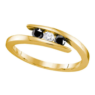 Yellow-tone Sterling Silver Round Black Diamond 3-stone Bridal Wedding Ring 1/4 Cttw