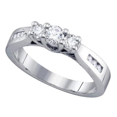14k White Gold Round 3-stone Diamond Engagement Wedding Bridal Ring 1/2 Cttw