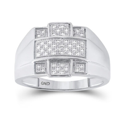 Sterling Silver Mens Round Diamond Cross Fashion Ring 1/6 Cttw
