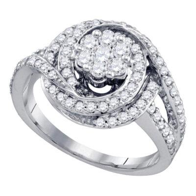10kt White Gold Round Diamond Flower Cluster Bridal Wedding Engagement Ring 1 Cttw