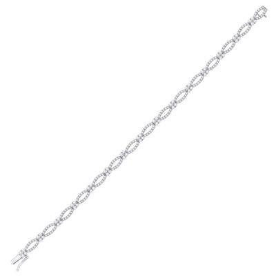 14kt White Gold Womens Round Diamond Fashion Bracelet 2-1/2 Cttw
