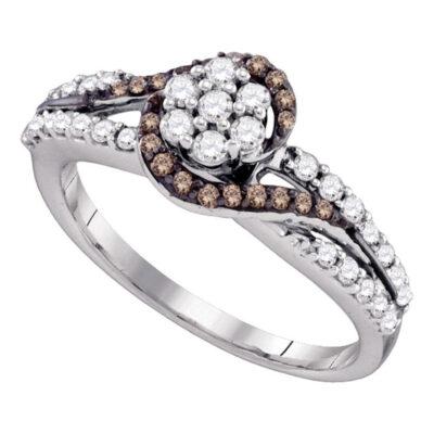 10k White Gold Brown Diamond Flower Cluster Bridal Ring 1/2 Cttw