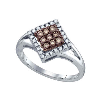 10k White Gold Brown Diamond Womens Square Cluster Ring 1/4 Cttw