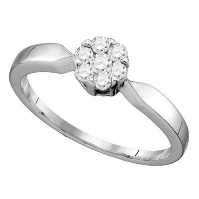 10k White Gold Flower Cluster Diamond Bridal Wedding Engagement Ring 1/4 Cttw
