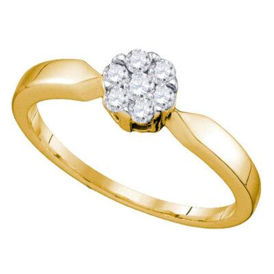 10k Yellow Gold Flower Cluster Diamond Bridal Wedding Engagement Ring 1/4 Cttw