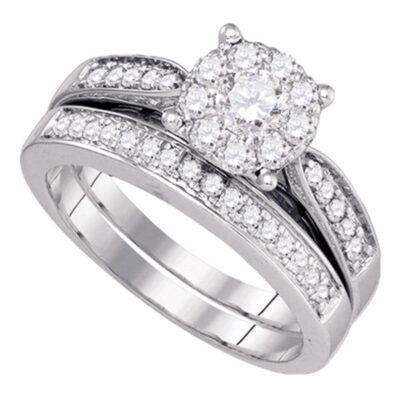 14kt White Gold Round Diamond Bridal Wedding Ring Band Set 3/4 Cttw