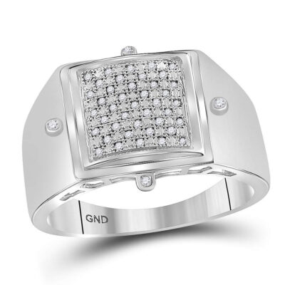 Sterling Silver Mens Round Diamond Square Cluster Ring 1/6 Cttw