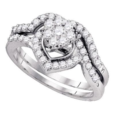 10kt White Gold Round Diamond Bridal Wedding Ring Band Set 3/4 Cttw