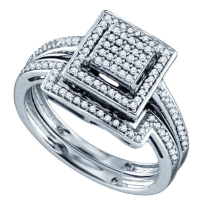Sterling Silver Diamond Square Cluster Bridal Wedding Ring Band Set 1/3 Cttw