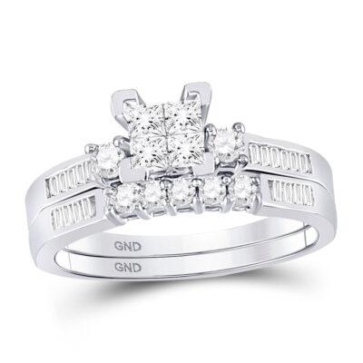 10kt White Gold Princess Diamond Bridal Wedding Ring Band Set 1/2 Cttw - Size 5
