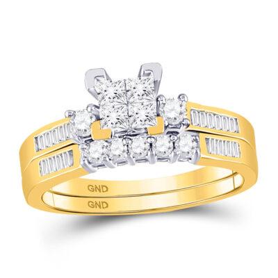 10kt Yellow Gold Princess Diamond Bridal Wedding Ring Band Set 1/2 Cttw - Size 6