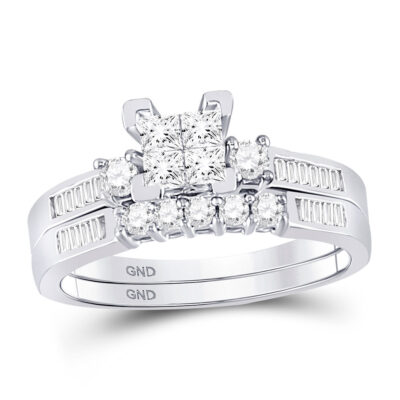 10kt White Gold Princess Diamond Bridal Wedding Ring Band Set 1/2 Cttw - Size 6