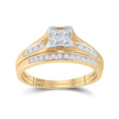 10kt Yellow Gold Princess Diamond Bridal Wedding Ring Band Set 1/2 Cttw Size 5