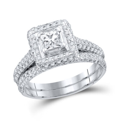 14kt White Gold Princess Diamond Bridal Wedding Ring Band Set 1-1/4 Cttw Size 5