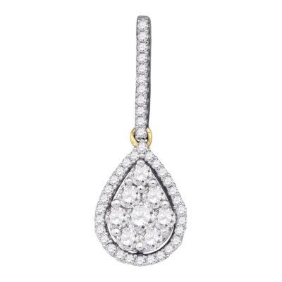 10kt Yellow Gold Womens Round Diamond Teardrop Cluster Pendant 3/4 Cttw