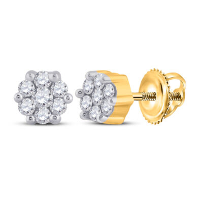 Yellow-tone Sterling Silver Womens Round Diamond Flower Cluster Stud Earrings 1/6 Cttw